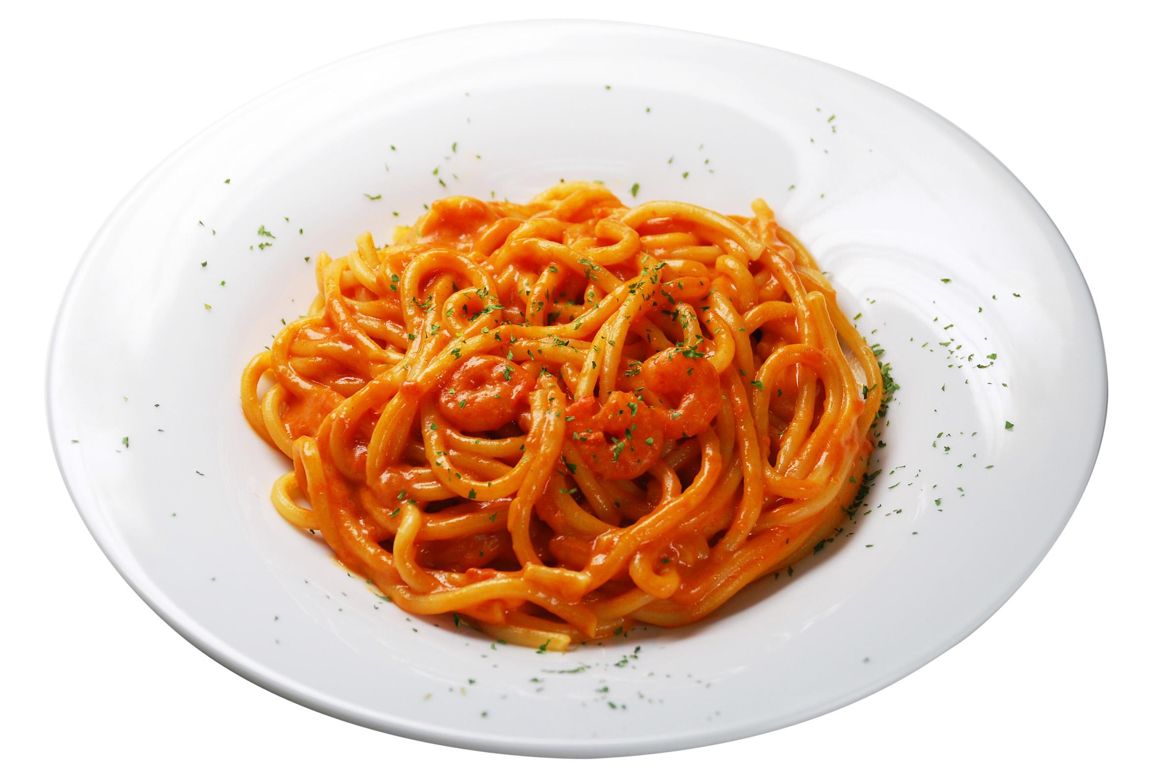 <p>海老のトマトクリームスパゲティ</p>(季節のメニュー)